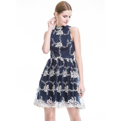 A-Linie/Princess-Linie High Neck Kurz/Mini Tüll Lace Cocktailkleid