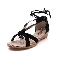 Velvet Flat Heel Sandals Flats With Imitation Pearl Ribbon Tie (087024965)
