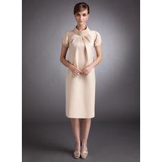 A-Line/Princess High Neck Knee-Length Satin Satin Maternity Bridesmaid Dress With Ruffle