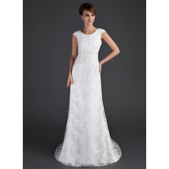 A-Line/Princess Scoop Neck Court Train Lace Wedding Dress With Ruffle Beading