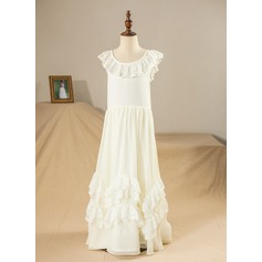 A-Line/Princess Floor-length Flower Girl Dress - Satin/Lace/Composites/Spandex Sleeveless Scoop Neck With Ruffles/Lace