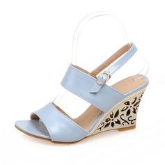 Leatherette Wedge Heel Sandals Peep Toe shoes