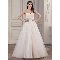 Ball-Gown Sweetheart Floor-Length Tulle Lace Wedding Dress With Beading Sequins