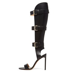 Women's Leatherette Stiletto Heel Sandals Knee High Boots shoes