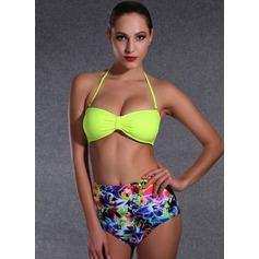 Sexy Floral Solid Color Colorful Bikini