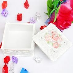 Flores románticas Resina Señoras' Joyería caja