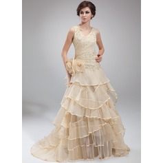 A-Line/Princess V-neck Court Train Organza Holiday Dress With Beading Appliques Lace Flower(s) Cascading Ruffles Pleated