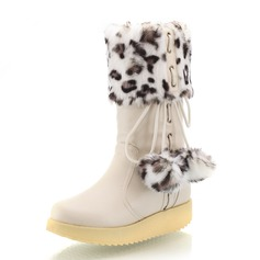 Women's Leatherette Flat Heel Mid-Calf Boots With Fur shoes