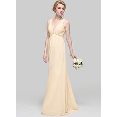 A-Line/Princess V-neck Floor-Length Chiffon Bridesmaid Dress With Ruffle Beading Sequins Bow(s)