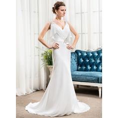 Trumpet/Mermaid V-neck Court Train Chiffon Wedding Dress With Beading Sequins Cascading Ruffles