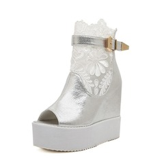 Leatherette Wedge Heel Peep Toe Ankle Boots With Buckle shoes