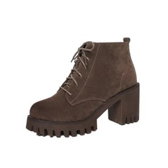 Women's Suede Chunky Heel Platform Ankle Boots With Braided Strap shoes