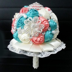 Gorgeous Round Satin Bridal Bouquets