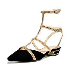 Real Leather Flat Heel Flats Closed Toe Slingbacks With Rhinestone shoes