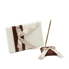 Graceful Satin Faux Pearl/Bow Guestbook/Pen Set