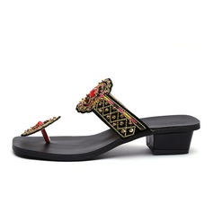 Women's Leatherette Chunky Heel Sandals Flats Flip-Flops With Rhinestone shoes