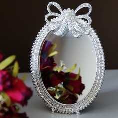 Oval Zinc Alloy/Glass Compact Mirror With Rhinestone/Pearl