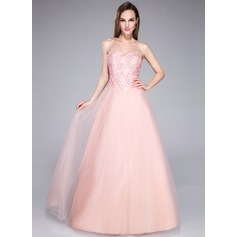 A-Line/Princess Sweetheart Floor-Length Tulle Prom Dress With Beading Sequins