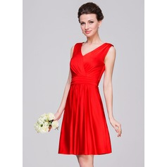 A-Line/Princess V-neck Knee-Length Jersey Bridesmaid Dress With Ruffle Bow(s)