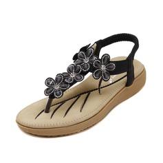 Women's Leatherette Flat Heel Sandals Slingbacks With Rhinestone shoes