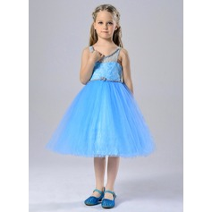 A-Line/Princess Knee-length Flower Girl Dress - Polyester Sleeveless Straps With Sash