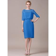 Sheath/Column Scoop Neck Knee-Length Chiffon Bridesmaid Dress