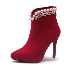 Women's Leatherette Stiletto Heel Boots Ankle Boots With Imitation Pearl shoes