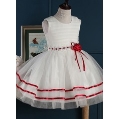 A-Line/Princess Short/Mini Flower Girl Dress - Tulle Sleeveless Jewel With Flower(s)