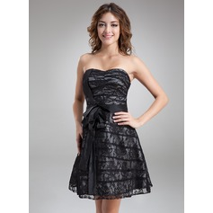 A-Line/Princess Sweetheart Knee-Length Taffeta Lace Cocktail Dress With Bow(s)