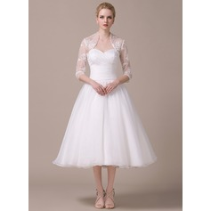 A-Line/Princess Sweetheart Tea-Length Organza Wedding Dress With Ruffle