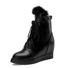 Women's Leatherette Wedge Heel Ankle Boots shoes