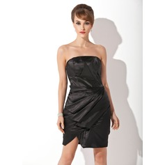 Sheath/Column Strapless Knee-Length Charmeuse Homecoming Dress With Ruffle