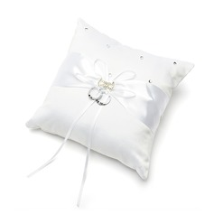 Delicate Ring Pillow in Satin With Ribbons/Rhinestones