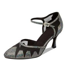 Women's Sparkling Glitter Heels Pumps Modern Dance Shoes