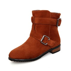 Suede Flat Heel Ankle Boots With Buckle shoes