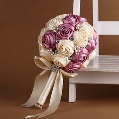 Elegant Round Satin/Silk Bridal Bouquets