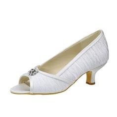 Women's Satin Kitten Heel Peep Toe Sandals With Rhinestone