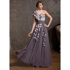 Corte A/Princesa Un sólo hombro Hasta el suelo Chifón Vestido de madrina con Volantes Flores