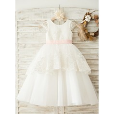 A-Line/Princess Tea-length Flower Girl Dress - Satin/Tulle Short Sleeves Scoop Neck With Sash/Appliques/Bow(s)