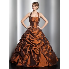 Ball-Gown Halter Floor-Length Taffeta Quinceanera Dress With Ruffle Beading