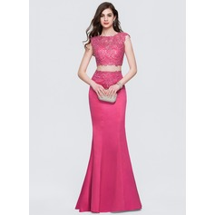 Trumpet/Mermaid Scoop Neck Floor-Length Satin Prom Dresses With Beading Sequins (018146398)