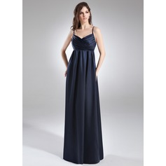 Empire V-neck Floor-Length Charmeuse Charmeuse Maternity Bridesmaid Dress With Ruffle