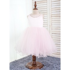 Ball Gown Knee-length Flower Girl Dress - Cotton/Chinlon Sleeveless Scoop Neck With Bow(s)/Rhinestone