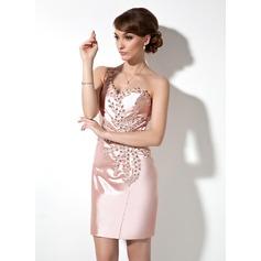Sheath/Column One-Shoulder Short/Mini Charmeuse Cocktail Dress With Beading