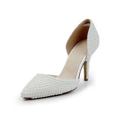 Frauen Lackleder Kegel Absatz Geschlossene Zehe Absatzschuhe mit Nachahmungen von Perlen
