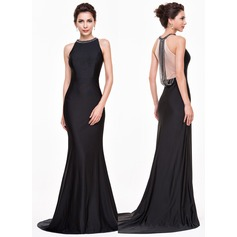 Trumpet/Mermaid Scoop Neck Court Train Jersey Evening Dress With Beading