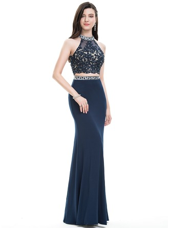 Sheath/Column Scoop Neck Floor-Length Jersey Prom Dress With Beading Sequins