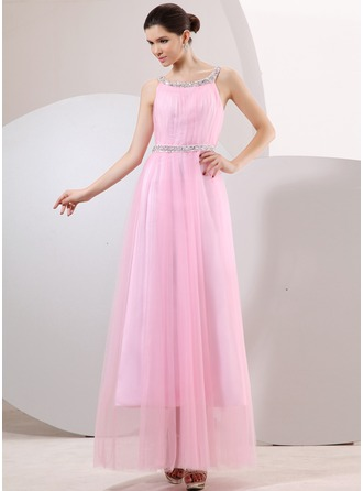 A-Line/Princess Scoop Neck Ankle-Length Tulle Holiday Dress With Ruffle Beading