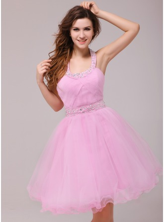 A-Line/Princess Halter Knee-Length Tulle Cocktail Dress With Ruffle Beading