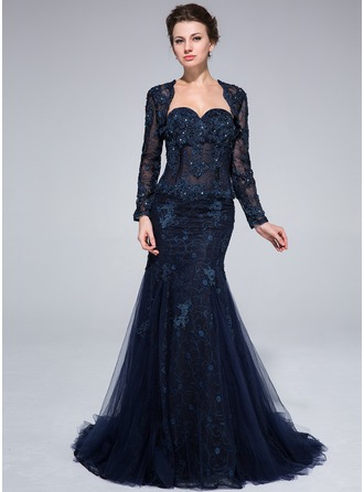 Trumpet/Mermaid Sweetheart Sweep Train Tulle Lace Evening Dress With Beading Flower(s)